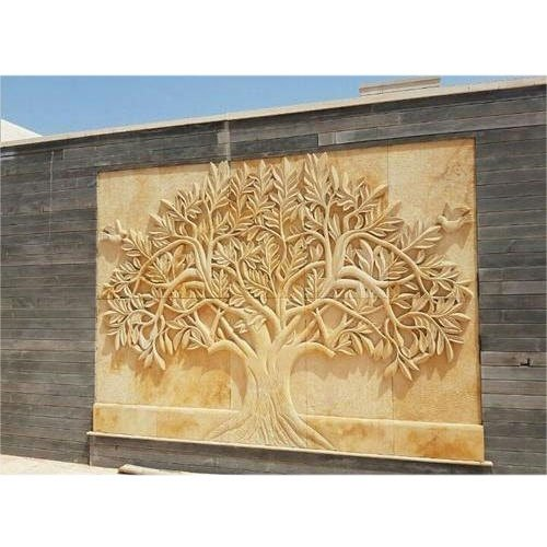 Designer Tree Stone Mural, For Wall Cladding, Size: 5x7 Feet