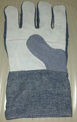 Blue Leather Jeans Hand Gloves for Industrial Use