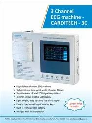 Biomedics CARDITECH 3C ECG Machine, Digital & Portable, Number Of Channels: 3