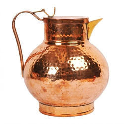 Copper Hammered Round Jug, Weight: Approx 505 gm