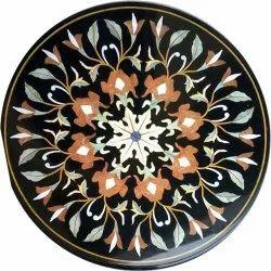 Round Marble Inlay Lapis Lazuli Table Tops