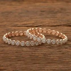 Cz Rose Gold Plated Classic Bangles 401609