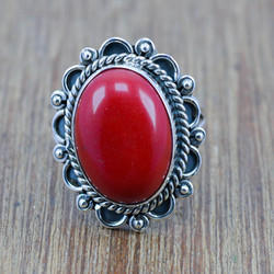 Coral Gemstone 925 Sterling Silver Jewelry Ring