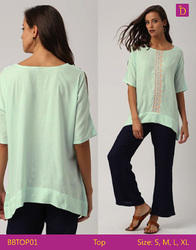 Ladies Blouses & Top Loose Cold Shoulder Top With Short Sleeves And Embroidered Placket Casual Top