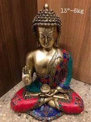 Brass Buddha Statue Multi Colour