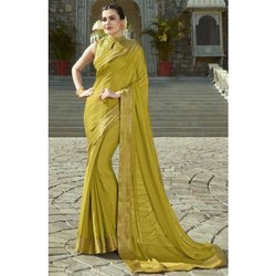 Pure Chiffon Plain Saree with Golden Border In Green