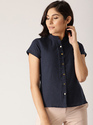 Female Short, Cap Sleeves Cotton Navy Blue Solid Shirt