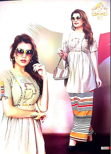 Printed Reyon Designer Ladies Palazzo Mix Suit