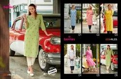 100 Miles Berries Modern and Stunning Look Cotton Linen Embroidered Kurti with Pants