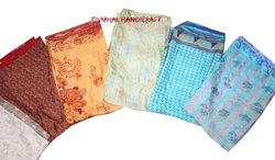 Indian Vintage Crepe Sari Fabric Floral Ethnic Dressmaking Craft