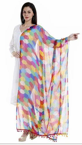 5a9f5be6be Multicolor Multicoloured Printed Chiffon Dupatta DB1360, Rs 349 ...