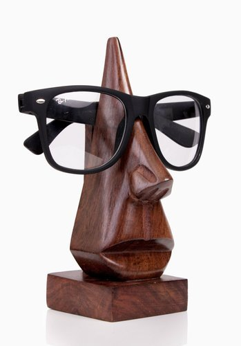 Wooden Nose Shaped Spectacle Specs Eyeglass Holder Stand