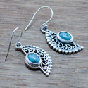925 STERLING SILVER NEW DESIGNER JEWELRY TURQUOISE GEMSTONE EARRING WE-5382
