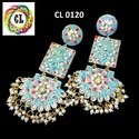 Cl Code Hand Painted Kundan Traditional Bollywood Designer Fancy Earrings