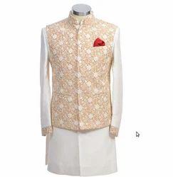 Cream And White Designer Long Suit With Jodhpuri Bandi.