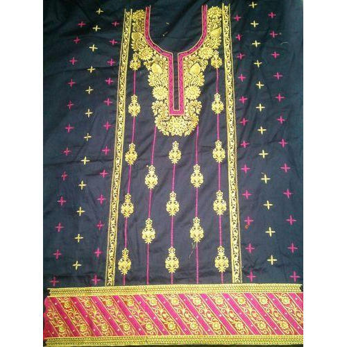 Cotton Unstitched Embroidery Suit