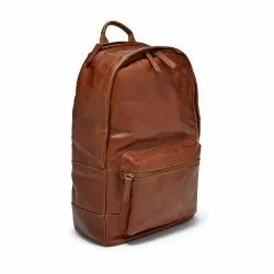 Brown Plain Leather Backpack