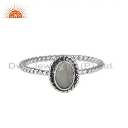 Rainbow Moonstone Gemstone Twisted 925 Silver Oxidized Rings