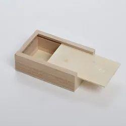 Natural Wood Rectangle Sliding Wooden Box
