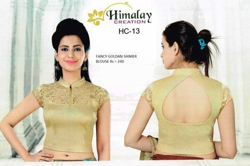 9b5fb4785c41fd Shimmer Golden Colour Printed Fancy Stretchable Blouse