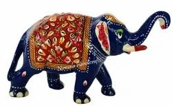 Metal Meenakari Trunk/Up Elephant Statue Enamel Work