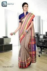 Brown with Multi Color Border Uniform Saree