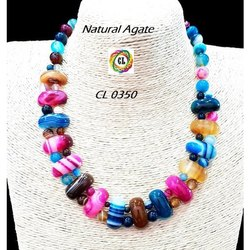 Multicoloured Natural Agate Semi Precious Stone Necklace