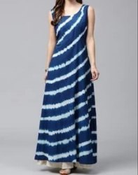 Floor Length Vandana Handicraft A-Line Indigo Western Dress