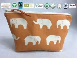 Natural Recycle Organic Cotton Cosmetic  Bag
