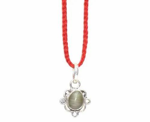 Aslomal Vijay Kumar Natural Gemstone Natural Cat S Eye Stone Silver Pendant 5 25 Ratti Rs 150 Piece Id 20975713855