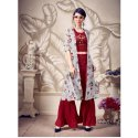 Grey And Maroon Sheknow Designer Sharara Suits, Size: Medium, Packaging Type: Box