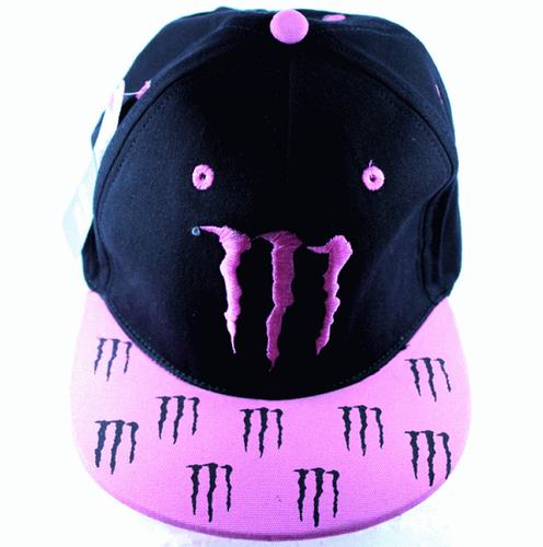 Boys Black And Pink Monster Energy Cap M Claw Fitted Hat 498638671e6