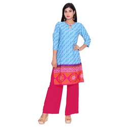 Blue And Red Crepe Kurti