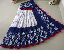 Bagru Pom Pom Lace Cotton Mulmul Saree
