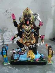 3 Feet Painted Marble Kali Mata Statue