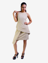 Beige Front Overlapped Panel Dress