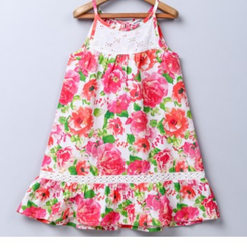 Multi Color Rose Print Lace Insert Dress