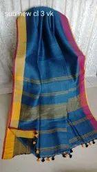 Pure Handloom Linen Sarees With Ganga Jamuna Border