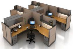 Wood L Shaped Cyber Cafe Workstation