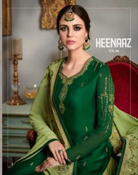 Heenaz Vol 66-Mahavir Satin Georgette With Heavy Embroidery Work Sharara Suits Heavy Collection