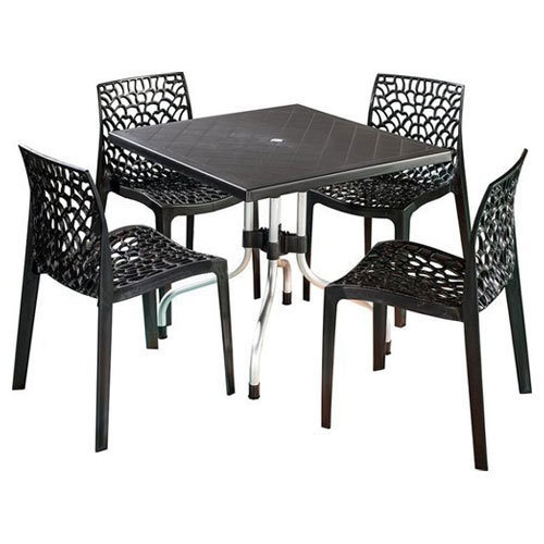 Black 64 D X 57 W 855 H Cm Plastic Dining Table Set