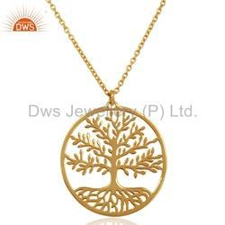 925 Silver Gold Plated Life of Tree Pendant