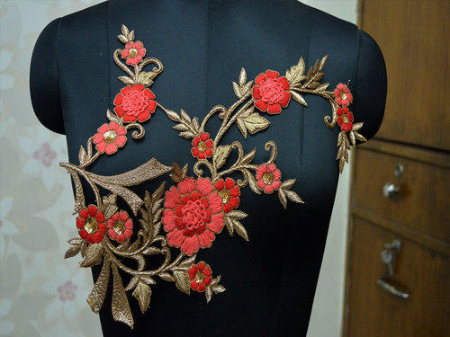 Decorative floral thread handmade patches applique for dress