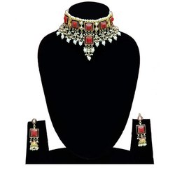 Indian Party Wear Red Color Choker Necklace Earrings Set