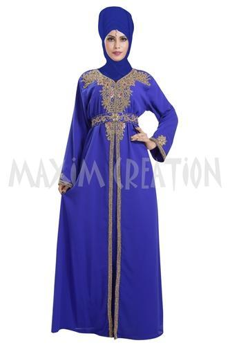 Georgette Royal Blue Simple Halloween Party Wear Costume, Length: Full Length