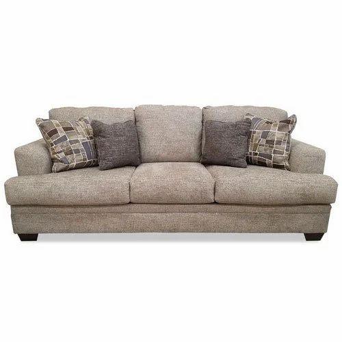 Superbe Grey Three Seater Cushion Back Sofa Set