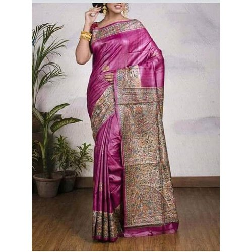 Party Wear Silk Fancy Madhubani Hand Printed Saree, 6.3 M (with Blouse Piece), Packaging Type: Plastic Bag