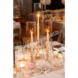 Candle Stand With Glass Chimney Set Of 3, Packaging Type: Box