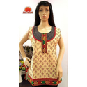 Cotton Sleeveless Kalamkari Short Kurti
