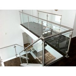 Stainless Steel Deck Glass Railing, For Railings, Thickness: 12 Mm